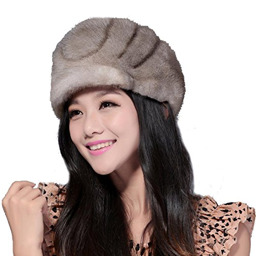 Women's Wrinkles Mink Full Fur Stingy Brim Hats (One Size, Gray) by Starway0311
