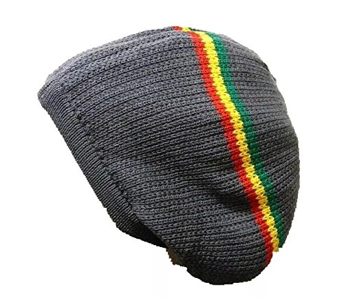 Gray Stripes Dread Rasta Tam Hat Crown Beret Beanie Knit Chrochet Slouchy (Rasta Beret)