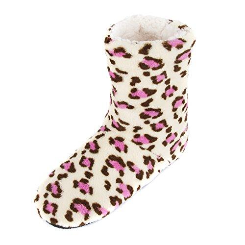 Cream Leisureland Bootie Slippers Fleece Women's Lined Pink With xXq7FZXr