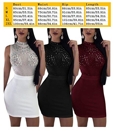 Bluewolfsea Maille Sexy Des Femmes Voir Par Mini-partie Moulante De Perles Sequins Clubwear Robe Noire
