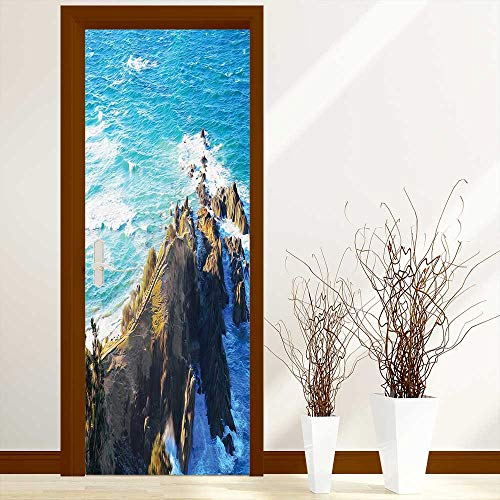 L-QN Modern Door Art Vinyl Decals Aerial View of Australien Cliffs by The Sea with Waves Scary High Destination Wall Art Décor Sticker W30 x H80 inch