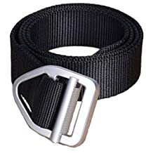 """Yacn mens Military Style Nylon Web Belt with Metal Buckle 1.5"""" Wide and 47"""" Long"""