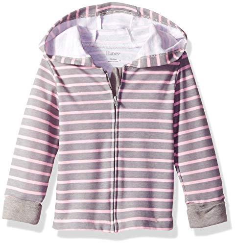 Hanes Ultimate Baby Zippin Knit Hoodie, Steel/Pink Stripe, 6-12 Months ()