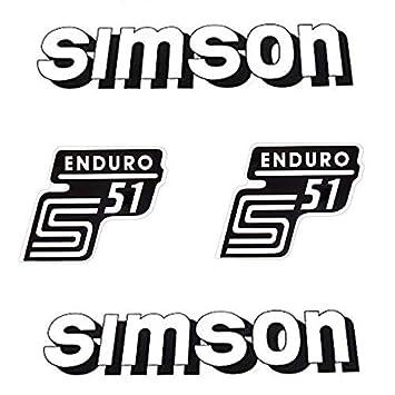 Set Aufkleber Sticker 4 Teilig Für Simson S51 Enduro Weiss
