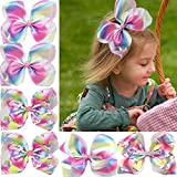 DED 4 Pcs 7 Inch Bow Hairclip Rainbow Unicorn Hairpin Large Bowknot Alligator Clips Boutique Turban Knotted Hair accessories For Baby Girls Teens Toddlers