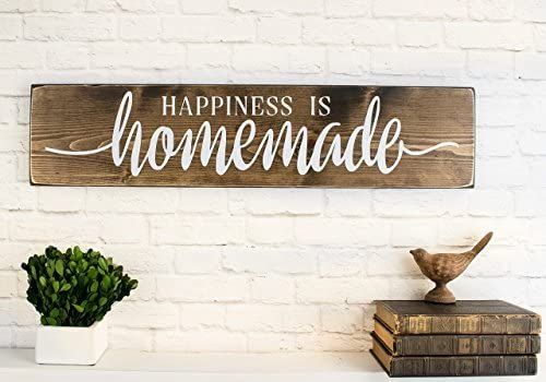 Handmade farmhouse decor. Happiness is homemade rustic wood sign