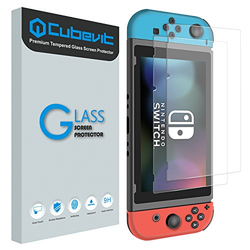 Tempered Glass Screen Protector for Nintendo Switch 2017, [2-Pack] Cubevit Switch Screen Protector Glass, [Works While Docking] Bubble Free / Full Coverage / 2.5D / Scratch Proof