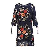 Womens T Shirt Dresses Floral Print Bowknot Sleeves Cocktail Mini Casual Party Dress (L, Navy)