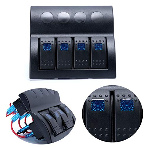 Amarine Made Blue Led 4 Gang Splashproof Waterproof Rocker Switch Panel Black with Blue LED Indicators for Boat Marine Bridge Control, Push Button Circuit Breakers Overload Protected, 12v -