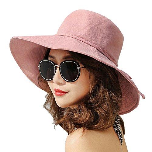 - ASSQI Summer Beach Sun Hat Linen Anti-UV UPF 50+ Foldable Wide Brim Bucket Hat for Women Cotton Pink