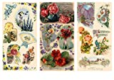 """Pack of 12 sheets of thinnest glossy paper for decoupage and craft, each sheet size 8""""x12"""" (A4/LTR). Three sheets of small pictures and nine sheets of large pictures."""