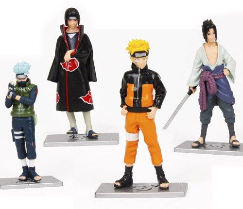OliaDesign Japanese Anime Naruto Kakashi Uzumaki Naruto Sasuke Collection Figurines (Set of 4) (Poseable Naruto Action Figure)