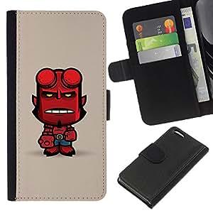KingStore / Leather Etui en cuir / Apple Iphone 5C / Mignon Personnage enfer Man