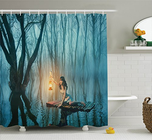 - Ambesonne Gothic Decor Collection, Fairy Tale Woman with Lantern Floating on Lake Rustic Dress in Misty Forest Picture, Polyester Fabric Bathroom Shower Curtain Set with Hooks, 75 Inches Long, Blue