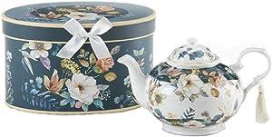 Delton 9.5 x 5.6 Inch Porcelain Tea Pot in Gift Box English Camellia