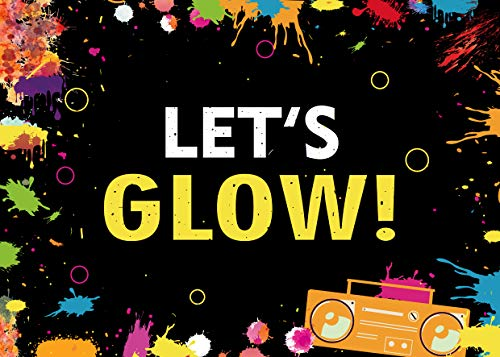(WOLADA 7x5ft Let's Glow in The Night Photo Backdrop Adult's Teen Blacklight Tween Neon Jig Decor Banner Photography Bcakdrop Birthday or Dancing Party Background Photo Picture for Studio Props)