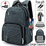 Larger Capacity Diaper Bag Multi-Function Travel Backpack/Waterproof Nursing Bag for Baby Care/Mummy Maternity Baby Nappy Changing Bags with USB Charging Port for Moms & Dads (Dark Grey-001)