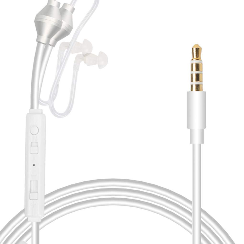 EgalBest Anti Radiation Binaural Earphones Stereo Headphones Microphone Universal 3.5mm Air Tube Acoustic Earbuds White