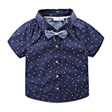 Mud Kingdom Toddler Boy Shirt and Tie Short Sleeve Stars 4T Navy Blue