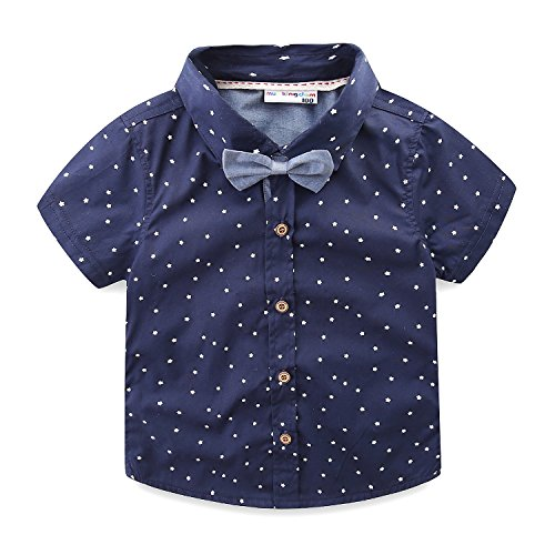 (Mud Kingdom Toddler Boy Shirt and Tie Short Sleeve Stars 4T Navy Blue)