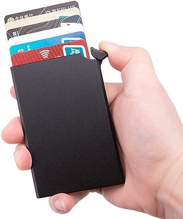 QUWN-Diseño Delgado Pop-Up Automático Caja De Tarjeta RFID Bloqueo De La Carpeta para La Caja De Aluminio De Los Hombres Tarjeta De Crédito Titular Una Carpeta Completa: Amazon.es: Hogar