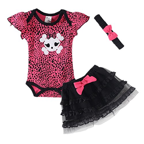 [LittleSpring Baby Girls' Clothing Set Skull Size 3M US Skull] (Christmas Outfits Baby)