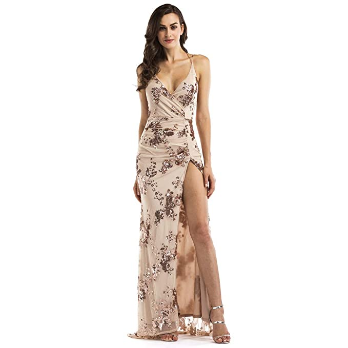 Weddings & Events Sexy High Side Slit A-line Evening Dress Decorated With Appliques Lace And Beading For Formal Evening Proms Durable In Use