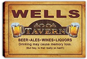 scpx1-1124 WELLS Tavern Pub Beer Bar Stretched Canvas Print Sign