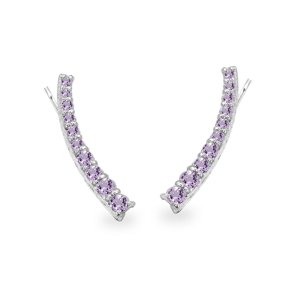 Sterling Silver Amethyst Round Graduated Climber Crawler Earrings