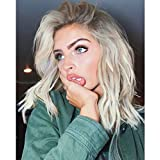 Vedar 2018 Summer Style Flawless- Wob Hair (Wavy Bob Hair) Dirty Blonde Hair Dark Rooted Blonde Lace Front Wigs for Women Shoulder Length 12 inches Wavy Blonde Wigs with Brown Roots Realistic Looking