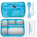 East World Lunch Box for Kids- Leak Proof Kids Lunch Box - Bento Box for Kids - With Lunch Bag, Cold Pack AND Cutlery! BPA Free Portion Control Container, Adult Lunch Box