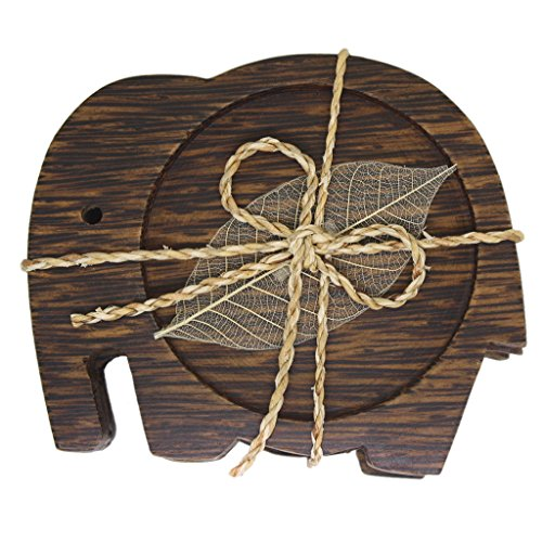 Elephant Wood Drink Table Coasters | Teacups and Saucer Sets - Decorations - Coaster Set of 3PCS