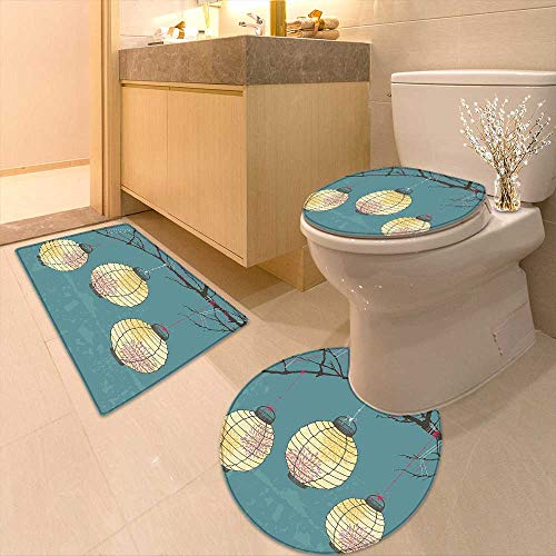 (U-Shaped Toilet Mat Three Paper Lanterns Hanging on The Branches Lighting Fixture Source Lamp Boho Print Washable Non-Slip)