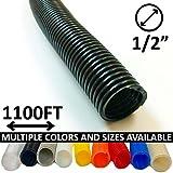 1/2'' Split Wire Loom Tubing - Color: Black - 1100 Feet