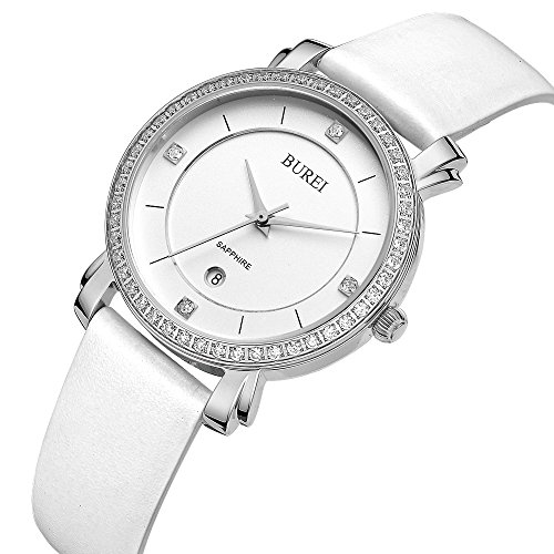 BUREI Womens Business Dress Quartz Watches with Simple Face Date Sapphire Crystal Leather Strap