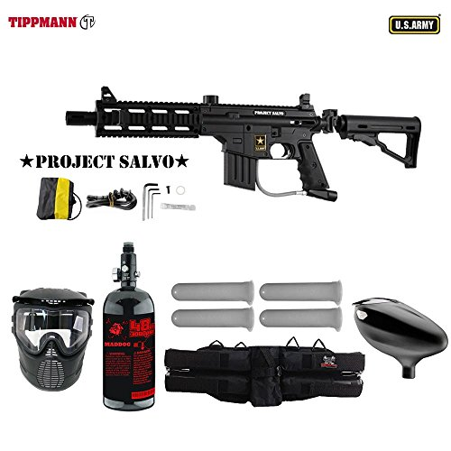 MAddog Tippmann U.S. Army Project Salvo Starter HPA Paintball Gun Package - Black Black Army Paintball Marker