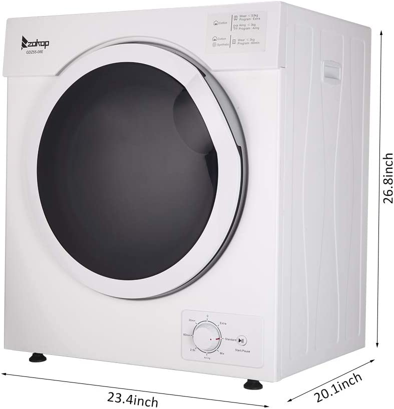 Sentern Compact Laundry Dryer White Control Panel Downside Easy Control with 4 Automatic Drying Mode Electric Portable Clothes Dryer with Stainless Steel Tub