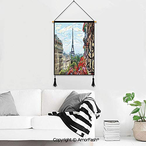 Wall Chart Dorm Room Decoration,Paris City Decor for Homes Canvas Prints Pictures Wall Street in Paris Town Traffic Trees Downtown Urban Life Exterior Monument Scene