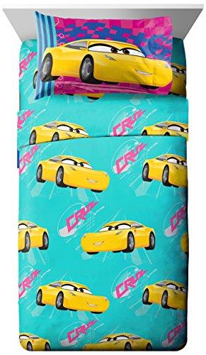 Disney/Pixar Cars 3 Movie Cruz Teal/Yellow/Pink 3 Piece Twin Sheet Set with Cruz Ramirez (Official Disney/Pixar Product)