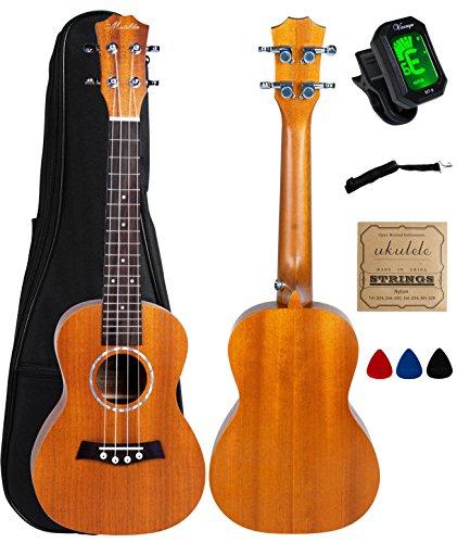 Concert Ukulele Mahogany 23 inch with Ukulele Accessories,Gig Bag,Strap,Nylon String,Electric Tuner,Picks - Image 7