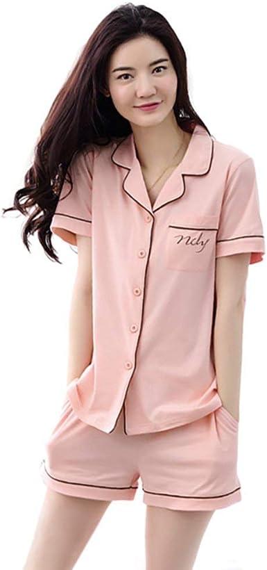 Pijamas Mujer Mujer Verano Algodon Pijama Manga Corta Elegantes V-Cuello Un Solo Pecho Conjunto De Pijama Fashionista Camiseta + Shorts 2 Juegos Moda Simplemente Ropa para El Hogar Ropa De Dormir: Amazon.es: