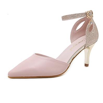 edcdddc9fd3e Escarpin élégant femme paillette glitter chaussure bout pointu fermé talon  aiguille bride cheville pompes rose 39