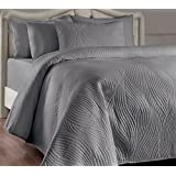 Brielle Stream Quilt and Sham Set, Full/Queen, Grey