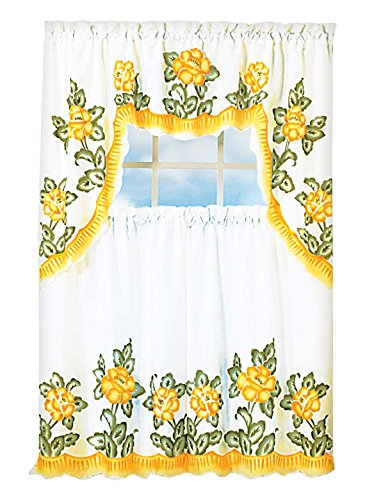 Carol Wright Gifts Floral Applique Kitchen Curtain Set, Yellow