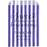 Personalised Wedding Sweet Bags SWRILY SWEET ENDING Candy Cart Wedding Favours Confetti Engagement (100, Purple striped) by Made by Mika
