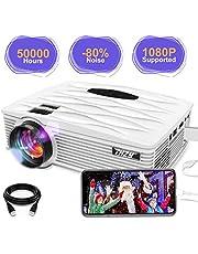 THZY Proyector Mini Vídeo Portatil Proyector HD LED 2200 Lúmenes,50000H soporta 1080p HDMI,VGA,USBx2, SD,AV e interfaz de auriculares,Compatible con TV Smartphones iPhone iPad