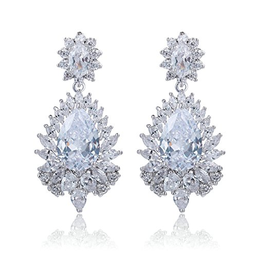 Gnzoe Fashion Jewelry Flower Drop Crystal CZ White Womens Dangle (State Fair Halloween Costumes)