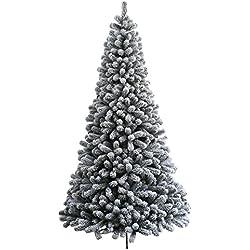 KING OF CHRISTMAS 4.7 Foot Prince Flock Artificial Christmas Tree Unlit
