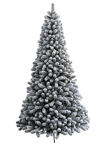 KING OF CHRISTMAS 4.7 Foot Prince Flock Artificial Christmas Tree Unlit (Tree Christmas Artificial Frosted)