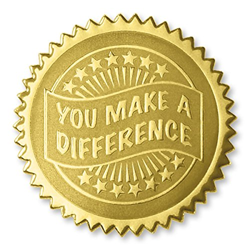 Embossed You Make a Difference Gold Certificate Seals, 102 Pack ()